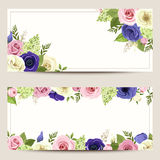 Invitation cards with colorful roses, lisianthuses and anemone flowers. Stock Photo