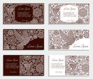 Invitation cards with creative decorative birds and flowers. Brown and white colors Royalty Free Stock Photography