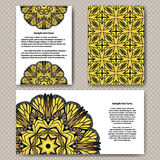 Invitation cards design with flower illustration and background. Royalty Free Stock Photos