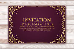 Invitation, cards with ethnic arabesque elements. Arabesque style design. Business cards. On wooden background Stock Image