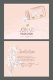 Invitation cards with hand drawn design elements and textured gold hearts Royalty Free Stock Photography