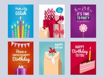 Invitation cards for kids birthday party. Vector design template with place for your text. Collection of banners birthday party illustration Royalty Free Stock Image