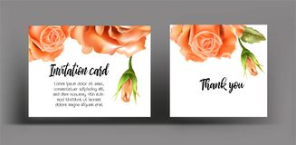 Invitation cards with orange rose. Use for wedding,greeting ,tha Stock Photos