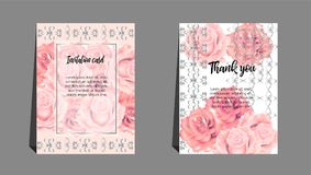 Invitation cards with orange rose. Use for wedding,greeting ,tha Royalty Free Stock Photo