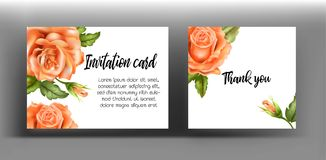 Invitation cards with orange rose. Use for wedding,greeting ,tha Stock Images