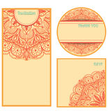 Invitation cards set. Template design elements in vintage colors. Vector illustration Stock Photo