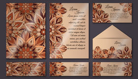Invitation cards set. Vintage decorative elements. Islam, Arabic, Indian, ottoman motifs. Royalty Free Stock Photography