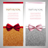 Invitation cards with shiny glitter and decorative bows Stock Photos