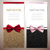 Invitation cards with shiny glitter and decorative bows Stock Images