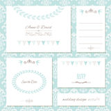 Invitation cards and templates set on damask. Royalty Free Stock Photos