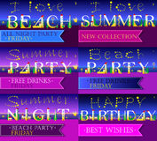 Invitation cards to parties. Artistic font Royalty Free Stock Photos