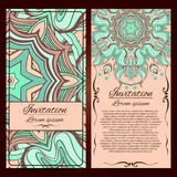 Invitation cards. Vector Invitation cards. Vintage decorative elements. Hand drawn background Stock Illustration