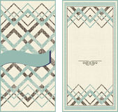 Invitation cards on vintage geometric background Royalty Free Stock Images