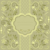 Invitation cards in an vintage-style green. Template frame design for greeting card, vector Illustration royalty free illustration