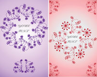 Invitation for celebration.Vector floral ornament in lilac and pink backgrounds. Easy to edit. Perfect for invitations or announcements royalty free illustration