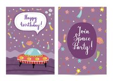 Invitation on Children Costumed Birthday Party. Happy birthday cartoon greeting card on space theme. Flying saucer surrounded by color stars, solar system Stock Photo