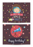 Invitation on Children Costumed Birthday Party Royalty Free Stock Photography