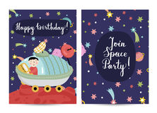 Invitation on Children Costumed Birthday Party Stock Images