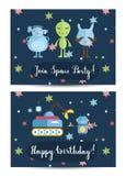 Invitation on Children Costumed Birthday Party Royalty Free Stock Photos