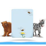 Invitation children holidays. Digital holiday poster with light blue card for text and cute animal brown bear, zebra, flying bee, isolated on white background stock illustration