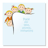 Invitation for a children`s party. You can use it as a photo frame, a design for paper. royalty free illustration