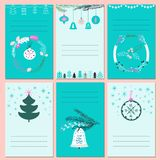 Invitation Christmas cards with place for text. Set of card with trees, toys, wreaths and snowflake. Vector illustration Stock Photo