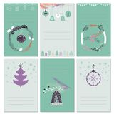 Invitation Christmas cards with place for text. Set of card with trees, toys, wreaths and snowflake. Vector illustration Royalty Free Stock Photography