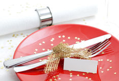 Invitation for christmas dinner. Table set for christmas dinner Stock Photography