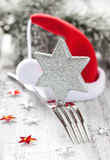 Invitation for christmas dinner. With decoration Stock Photos