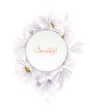 Invitation or congratulation card with elegant flower composition. Blooming white magnolias formed composition on the Stock Image