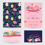 Invitation-Congratulation Card Set Royalty Free Stock Images