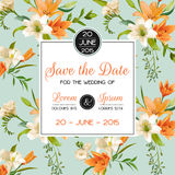 Invitation or Congratulation Card - for Wedding, Baby Shower. Vintage Lily Floral Theme - in Vector royalty free illustration