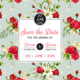 Invitation or Congratulation Card for Wedding, Baby Shower. Vintage Rose and Lily Floral Theme in Vector vector illustration