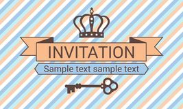 Invitation with crown and key Royalty Free Stock Photography