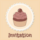 Invitation with cupcake Royalty Free Stock Photo