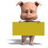 Invitation from a cute and funny toon pig Stock Images