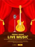 Invitation d'affiche au concert de musique en direct Dirigez la photo du rétro microphone et de la guitare acoustique Image libre de droits