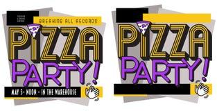 Invitation d'affiche de partie de pizza illustration stock