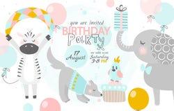 Invitation d'anniversaire avec le zèbre, le chien et l'éléphant mignons Illustration de vecteur illustration de vecteur