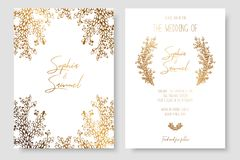 Invitation d'or avec les branches florales L'or carde des calibres pour des économies la date, épousant invite, des cartes de voe image stock