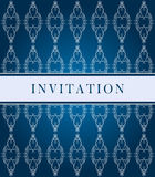 Invitation dark blue ornate card Stock Image