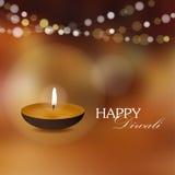 Invitation de carte de voeux de Diwali avec la lampe à pétrole de diya, Photo libre de droits