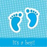 Invitation de douche de carte d'arrivée de bébé garçon Photos libres de droits