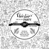 Invitation de fête de Noël de vecteur avec les bonhommes de neige mignons de griffonnages Photo libre de droits