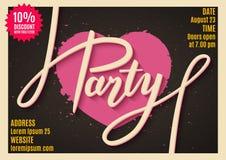 Invitation de faire la fête, bannière, insecte, billet, conception d'affiche avec le texte manuscrit Photos stock