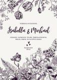 Invitation de mariage avec des fleurs Photos stock