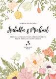 Invitation de mariage avec des fleurs illustration de vecteur