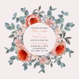 Invitation de mariage avec l'eucalyptus et les fleurs illustration libre de droits