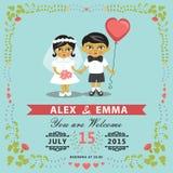 Invitation de mariage avec la jeune mariée asiatique de bébé, marié, cadre floral ENV Photos stock