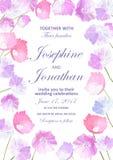 Invitation de mariage avec le fond floral Fleurs tirées par la main Images stock